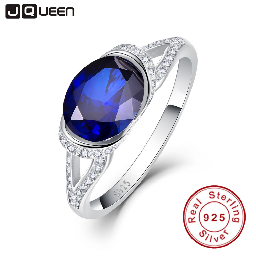 Hot Sale Oval Cut 2ct Blue Sapphire Ring Pure Solid 925 ...