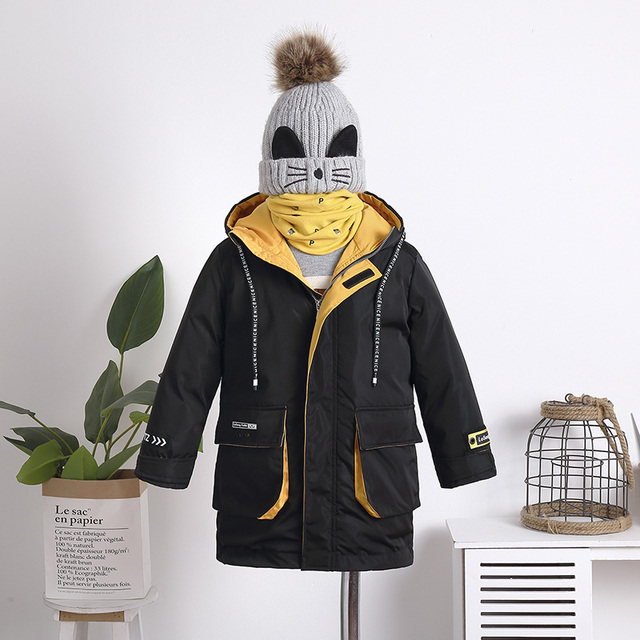 2019 Winter Jacket for Boy Thick Children Coats Outerwear Warm Boys Jacket Parka Hooded Long Teenage Kid Clothes