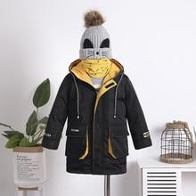 Için 2019 kış ceket erkek kalın çocuk mont giyim sıcak erkek ceket Parka kapşonlu uzun genç çocuk giysileri
