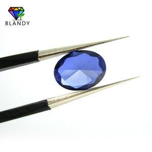 Image 5 - סיטונאי מחיר 3x5mm ~ 13x18mm #34 כחול אבנים סגלגל צורת מבריק לחתוך סינטטי קורונדום אבן אבני חן עבור תכשיטים