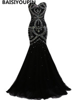 Engagement Dresses 2017 Vestido De Noche Long Party Dress Elegant Black Mermaid Evening Dresses With Rhinestones