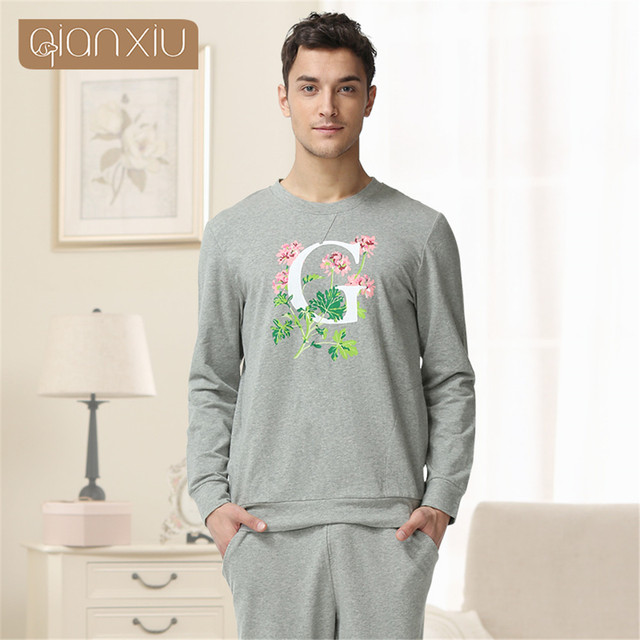Qianxiu 2017 Pajama For Men Spring Modal Men Pure cotton pajama Set long-sleeved Sleepwear homewear Men Lounge Pajamas Set
