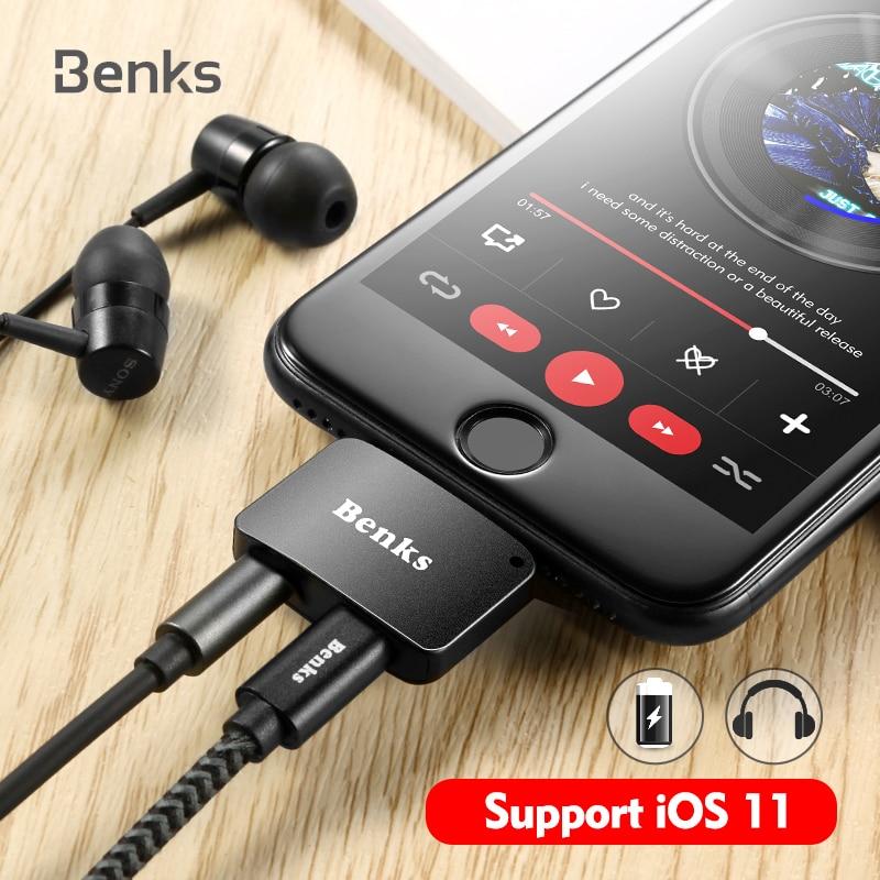 Benks Für iPhone 7 8 Plus 2 in 1 Audio Lade Adapter iOS 11 3,5mm Kopfhörer Jack AUX Ladegerät Stecker konverter Für iPhone7