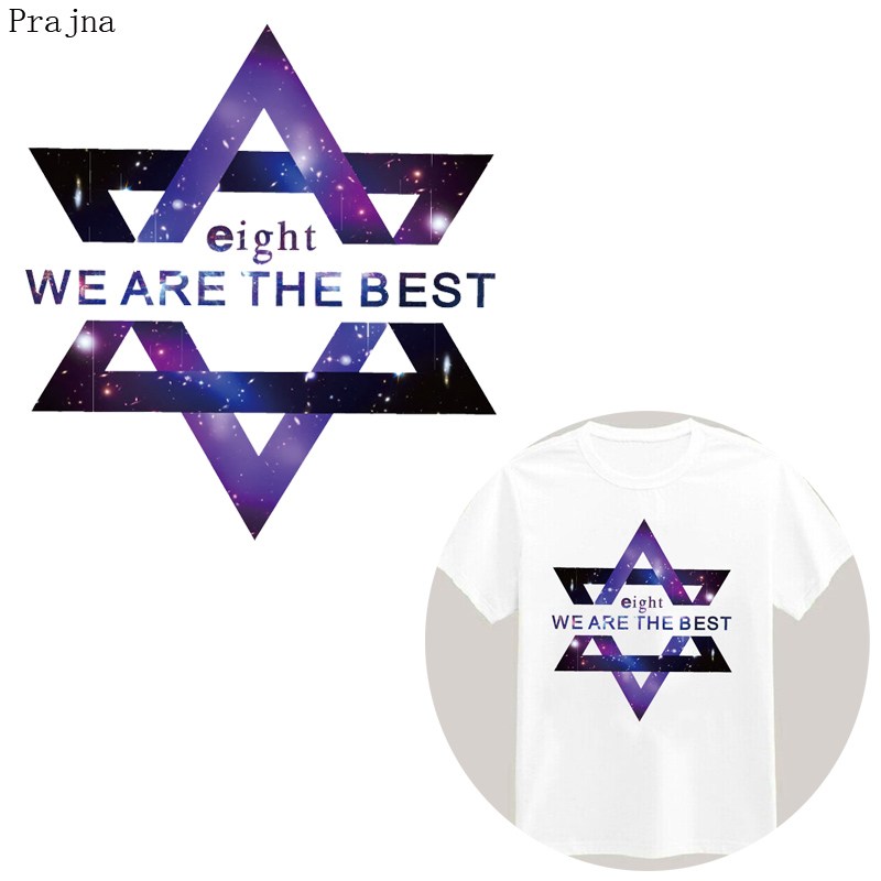 Prajna Letter Heat Transfer Vinyl Iron On Transfers For Clothes T shirt Cooling Star Patch PVC Sticker Transfer Thermal Stripes