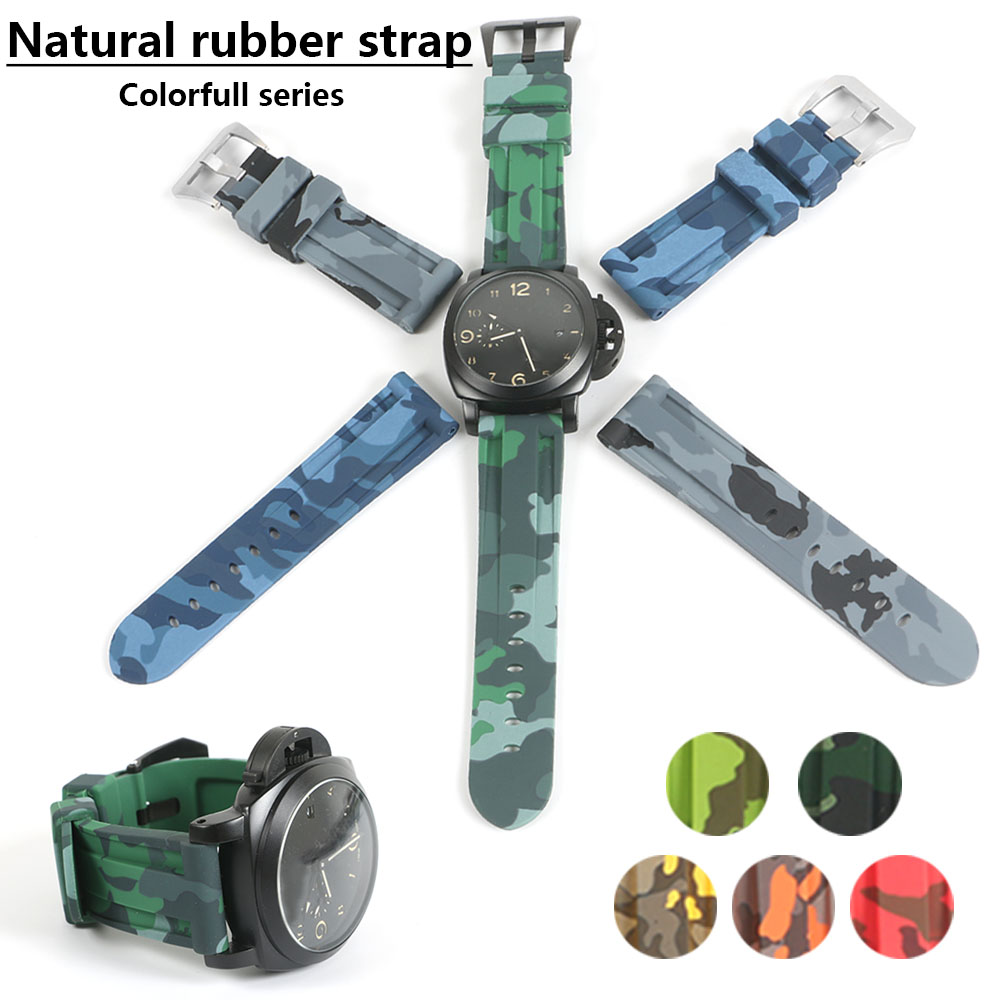 24mm Man Waterproof Silicone Rubber Watchbands Camouflage Black Orange Strap Steel Buckle Clasp Replacement For Panerai Watch carlywet 24mm men white waterproof silicone rubber replacement wrist watch band strap belt no buckle for panerai luminor