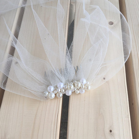 Hand Made Cheap Birdcage Veil Pearls Wedding Veil With Comb Short Bride Birdcage Veils Wedding