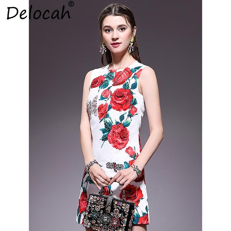 Kadın Giyim'ten Elbiseler'de Delocah Kadın Bahar yaz elbisesi Pist Moda Tasarımcısı Kolsuz Gül Aplikler Boncuk Jakarlı Bir Çizgi Zarif Kısa Elbise'da  Grup 3
