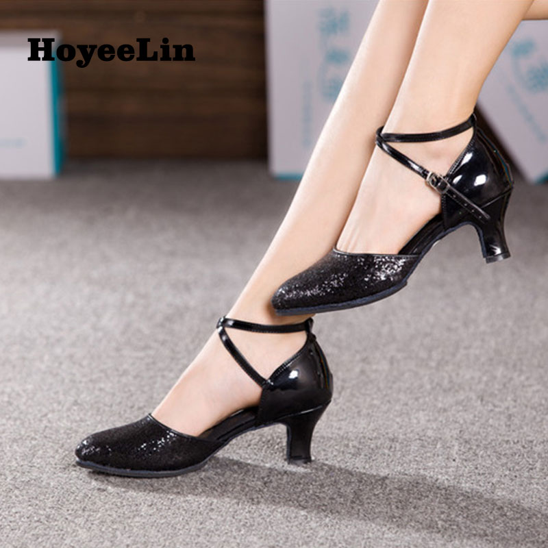 NEW Women Ladies Modern Dance Shoes Indoor Suede Sole Glitter Prom Party Ballroom Tango Salsa Dancing Shoes Heeled 3.5/5.5/7cm