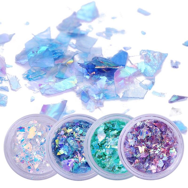 0,9g Fluoreszierende Nagel Glitter Flakes Set Glas Papier Unregelmäßigen Paillette Nail Art Pailletten Tipps Uv Gel Für Nail Art Dekoration Schönheit & Gesundheit