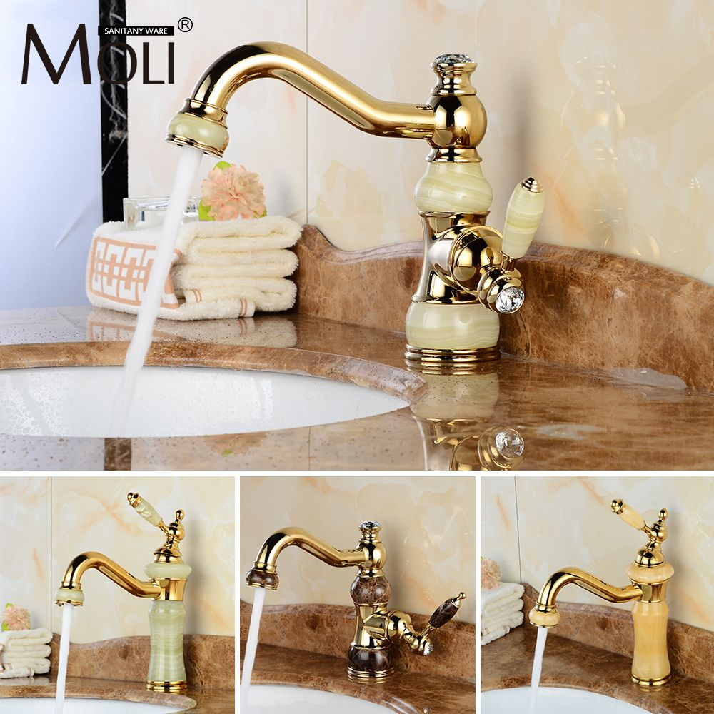 Free shipping luxury golden faucet copper bathroom faucets with stone single handle cold&hot water tap mixer torneiras