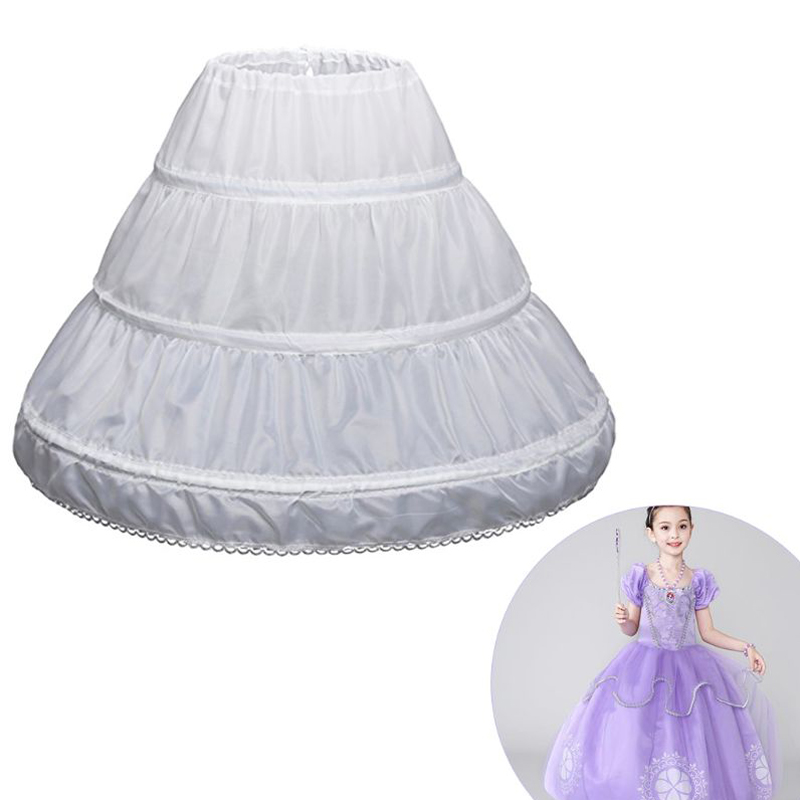 White Children Petticoat A-Line 3 Hoops One Layer Kids Crinoline Lace Trim   Flower     Girl     Dress   Underskirt Elastic Waist