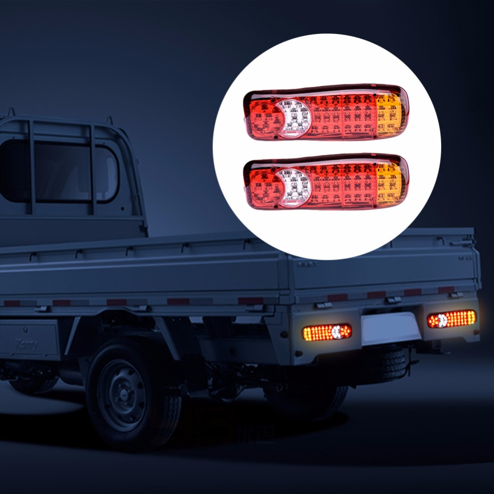 2Pcs 12V 24V 46 LED Trailer lights Truck LED Stop Rear Tail Brake Reverse Light Turn Indiactor LED Fog Lights Truck Trailer Lamp yeehoo ny554 46 2 ny554 46 2