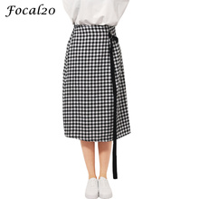Focal20 Harajuku Autumn Women Long Plaid Skirt Lace Up Belt Waist Casual Checked Long Skirt Streetwear(China)