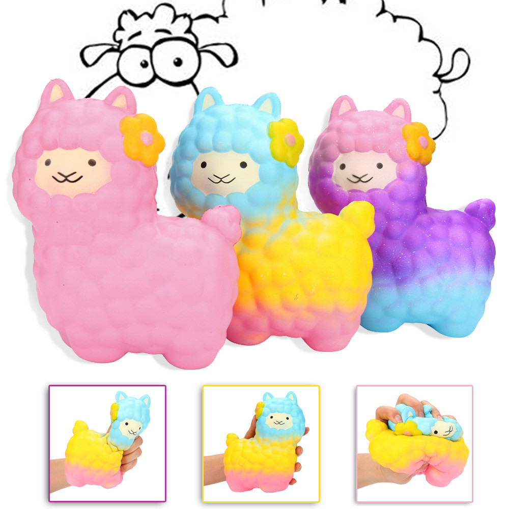 Huge colorful Novelty Toy Anti-Stress Pu Jumbo Sheep Squishy Cute Alpaca Galaxy Super Slow Rising Scented Fun Buffer gift