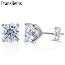 Transgems Solid 14K 585 White Gold F Color Moissanite Diamond Stud Earrings For Women Push Back Classic Ladies Earrings Gold