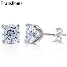 Transgems pendientes de tuerca de diamante moissanita para mujer, de 14K 585 de oro blanco, aretes clásicos de realce, oro