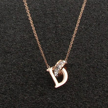 New D Letter And Crystal Annulus Interlocking Rose Gold Pendant Necklace 316 Stainless Steel High Polished Necklace For Women(China)