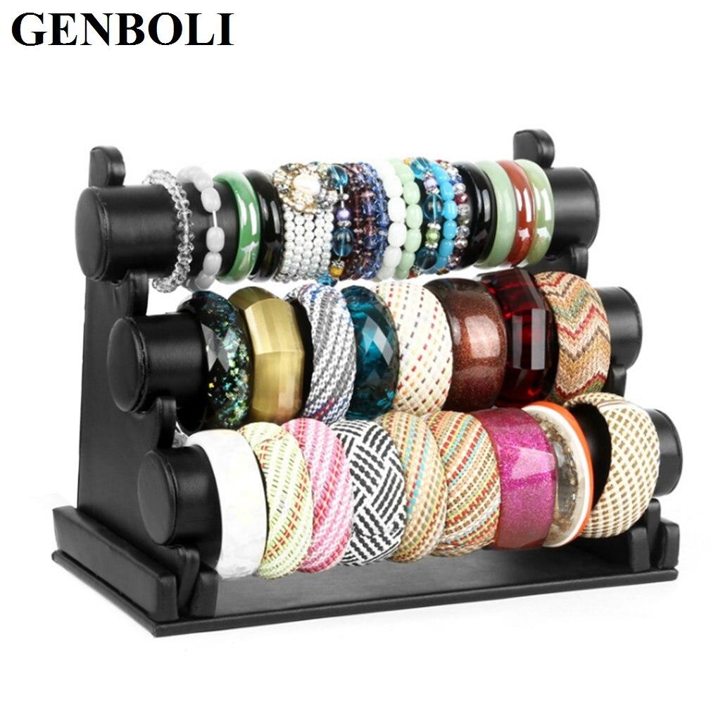 Velvet/PU Leather 3 Layers Watch Holder Women Desktop Bracelet Bangle Jewelry Show Rack Showing Stand Display