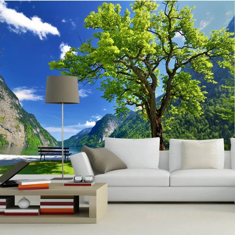 Beibehang custom 3d photo wall paper scenic tree dining for Tree wallpaper living room