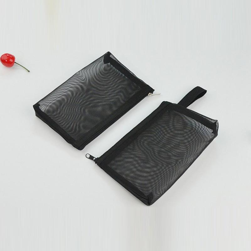 Mesh Black Travel Cosmetic Bag Women Zipper Make Up Transparent Makeup Case Organizer Storage Pouch Breathable Toiletry Bags