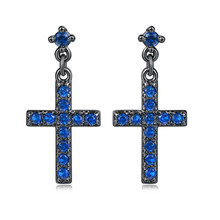 PISSENLIT Cruz Drop Earrings Trendy Black Cross Dangle Women Jewelry Long Rhinestone Earring pendientes mujer moda 2019