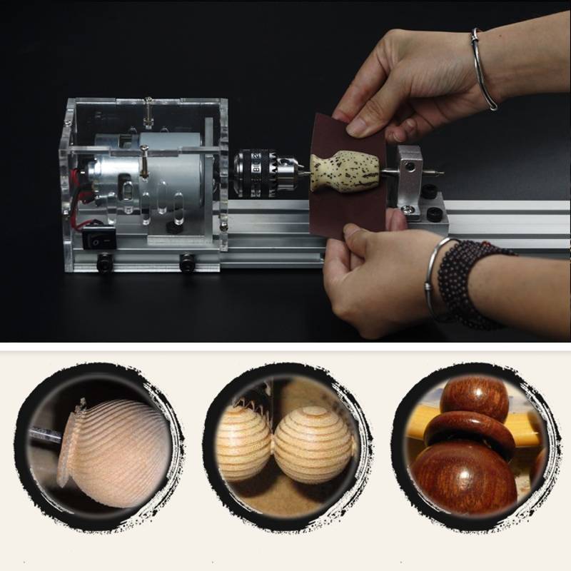 Mini Lathe Beads Machine Woodworking DIY Lathe Polisher Table Saw Grinding Cutting Drill Rotary Tool with Power Supply DC 24V dc 3v 24v mini electric hand drill rotary tool diy 385 motor w 24v power supply g205m best quality