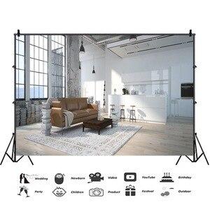 Image 3 - Laeacco סלון שיחת וידאו פנים דקור Photophone ספה חלון שטיח צילום רקע תמונה תפאורות תמונה לירות