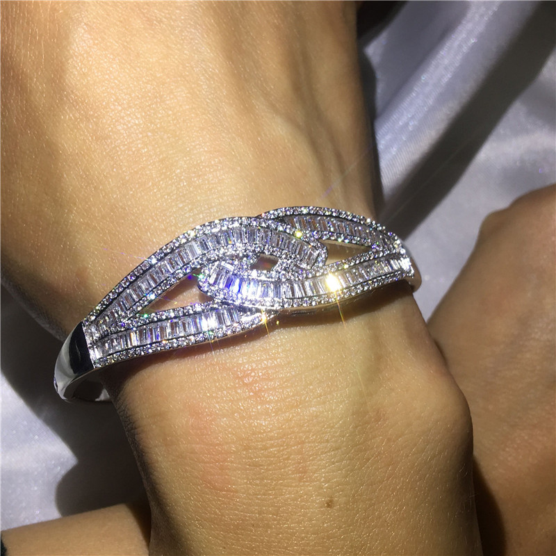 Luxury Cross Bangle 5A cubic zirconia T shape stone Baguette bracelet White Gold Filled Bangles for women wedding accessaries