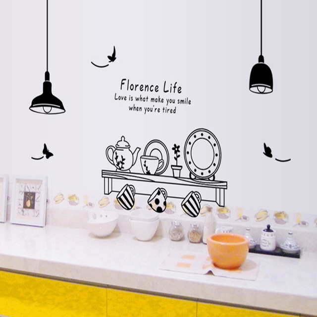 Florence Life Single Piece Wall Sticker Stencils For Walls Kitchen Creative Cook Stickers The Wallpaper