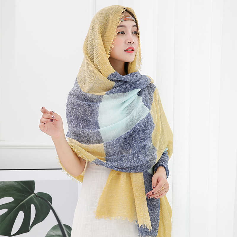 Women Cotton Linen Scarf Hijab fringes Tassels Muslim Hijabs Turkish Wrinkle Crinkle Shawls Wraps Large Long Pashmina
