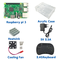 In Stock! RPI 3 Kit Original Raspberry Pi 3 Model B Board+Acrylic Case+Cooling fan+Heat sink+5V2.5A Power Charger+2.4G keyboard
