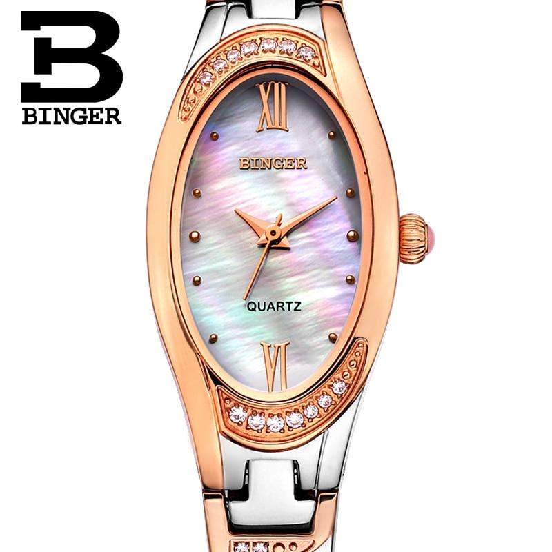 35e6f48a98b Suíça Binger Relógios das Mulheres moda de Luxo Da Marca Mulheres Relógio  de quartzo de safira relógios de Pulso de aço inoxidável completa B-3022L-2
