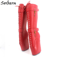 Sorbern Woman Boots 18CmExtreme High Heel Fetish Sexy Wedges Lace Up Buckle Heelless Ballet Boots Lockable Knee High Long Boots
