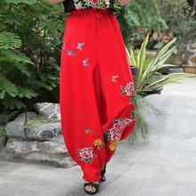 Spring Autumn Women Cotton Linen Pants Fashion Flower Embroidery Loose Trousers Vintage Casual Elastic Waist Wide Leg