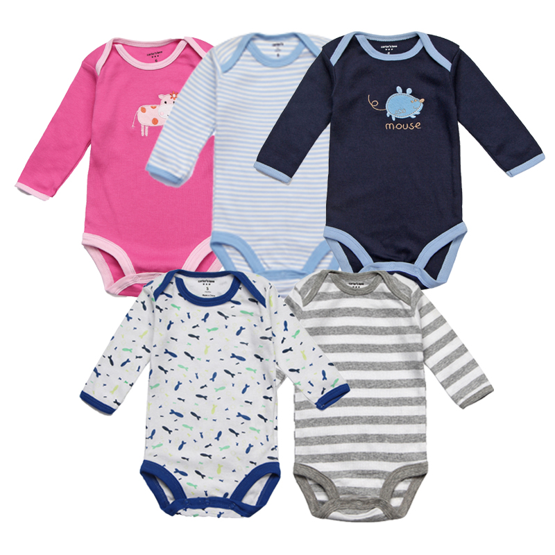 5Pcs/lot Baby Rompers Spring Baby Boy Clothes Cotton Baby Girl Clothing Roupas Bebe Infant Baby Jumpsuits Newborn Clothes цена