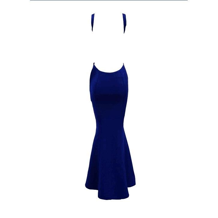 Élégantes Nu Bandage Robe De Moulante Mariage Sirène Longue Soirée Dos Sexy Robes Bleu B1ESWcR