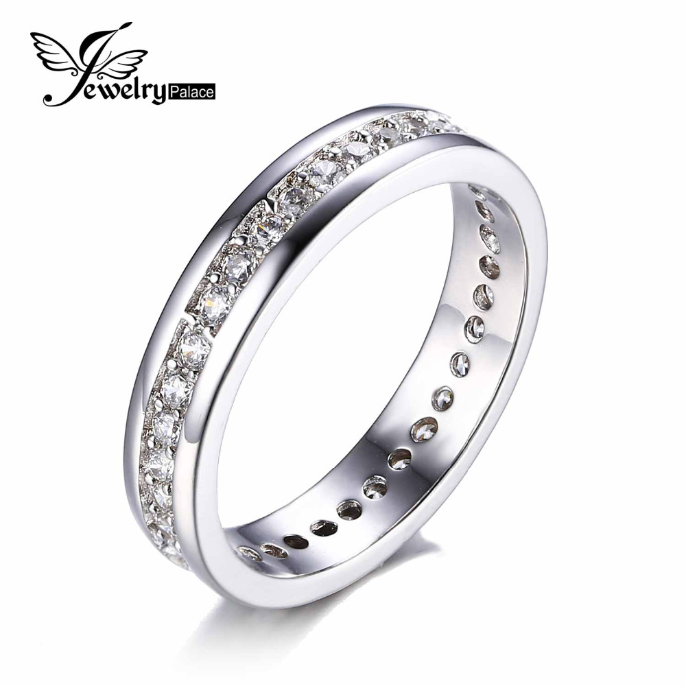 JewelryPalace Cubic Zirconia Wedding Band Eternity Ring 925 Sterling Silver SeSKp1XT3