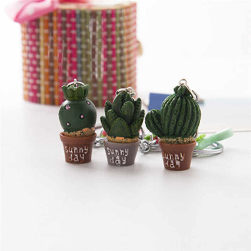 2018 New Style Simulation  plant keychain Cute Resin Cactus keyring Green Succulent plant pendant Phone Charm Bag Strap Decor