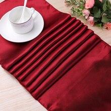 Meijuner 1 sztuk wysokiej jakości satyna bieżnik na stół dekoracja do domu wesele świąteczne dekoracje 22 kolory dostępne
