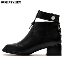 OUQINVSHEN Square Toe Square heel Women's Boots Buckle Rivet Women Ankle Boots 2017 New Winter Casual Fashion Ladies Girl Boots