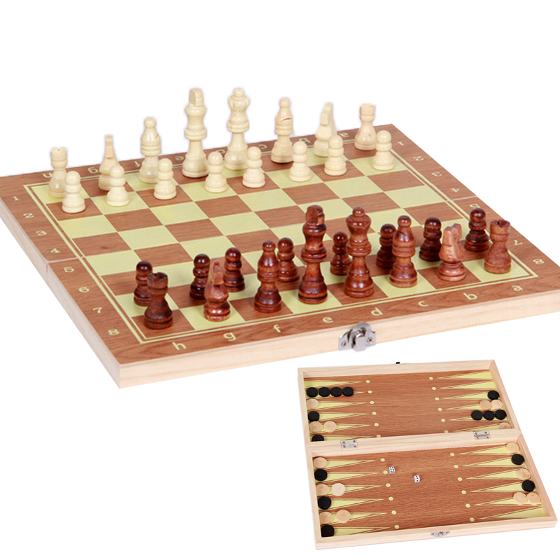 BSTFAMLY wood chess set, portable game of international chess, checkers backgammon three kinds of gameplay chess game, LA3