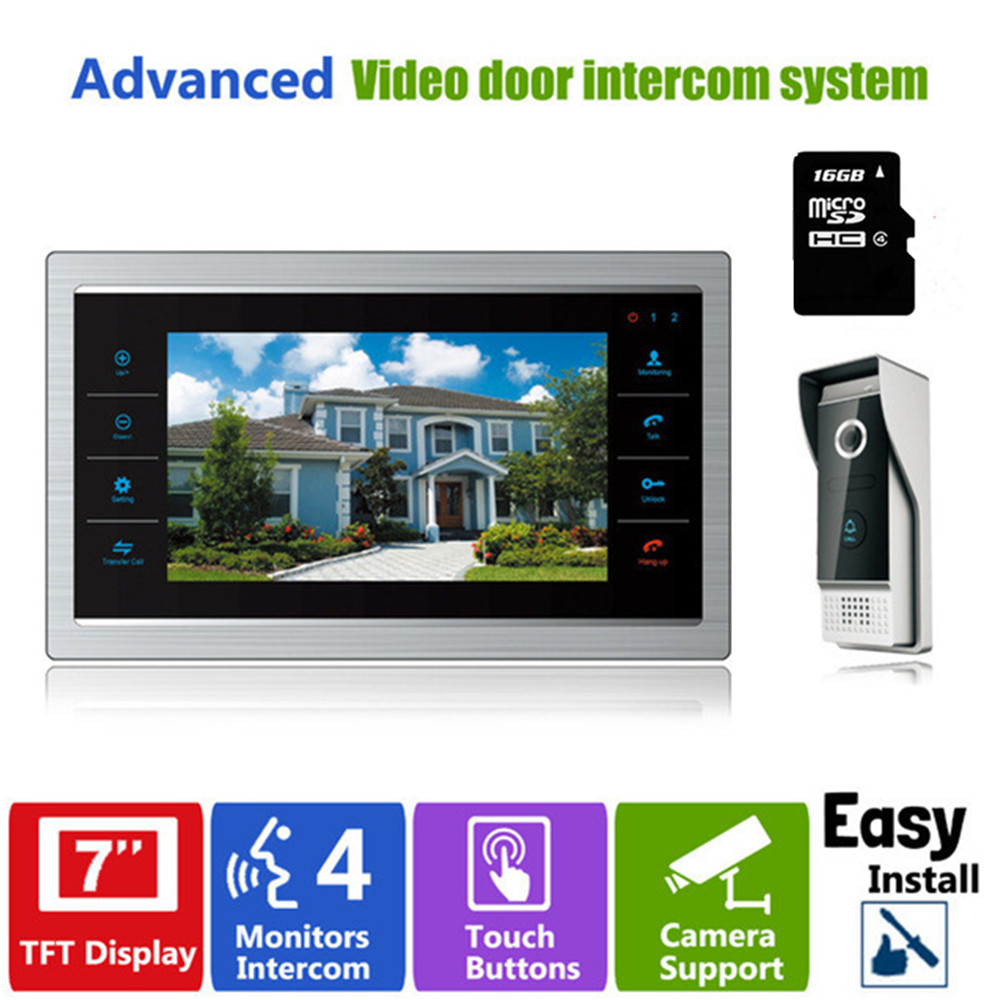 Homefong Video Door Phone Doorbell with Camera Intercom Video Intercom Recording Photo/Video Support 16GB SD Card Included цена