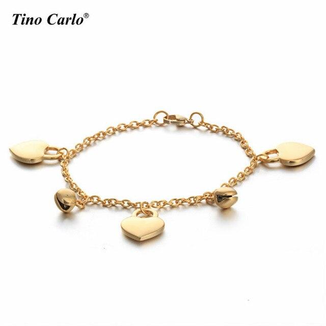 Women Gold Heart Lock Jingle Bells Charm Bracelet For Baby Toddler Stainless Steel Kids S Link
