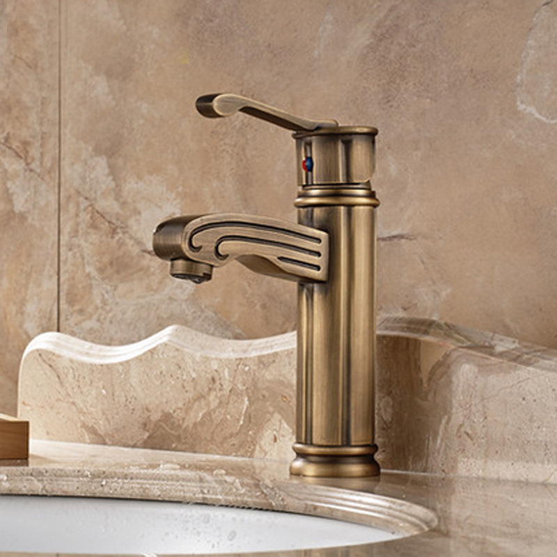 Clear and full Yaou style antique copper faucet 1827 vintage copper bathroom cabinet faucet basin taps