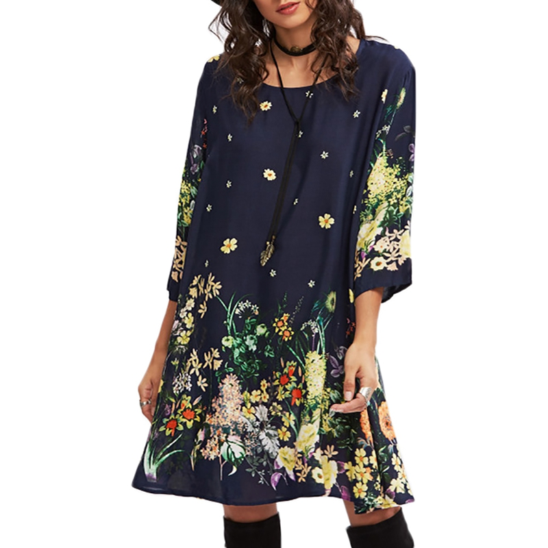 2018 new summer cotton 3/4 sleeves O neck loose dress floral print sundress casual bohemian boho style midi dress robe vestidos