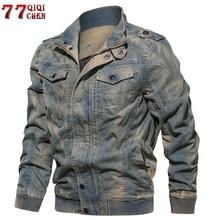 Мужская джинсовая куртка большого размера 6XL, Военная Тактическая джинсовая куртка, однотонная повседневная куртка пилота ВВС, пальто Casaco Masculino, дропшиппинг