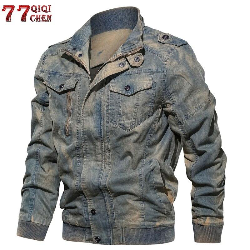 Мужская джинсовая куртка большого размера 6XL, Военная Тактическая джинсовая куртка, однотонная повседневная куртка пилота ВВС, пальто Casaco