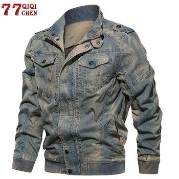 Mężczyzna kurtka dżinsowa duży rozmiar 6XL wojskowe taktyczne jeansowa kurtka stałe dorywczo Air Force Pilot płaszcz Casaco Masculino DropShipping