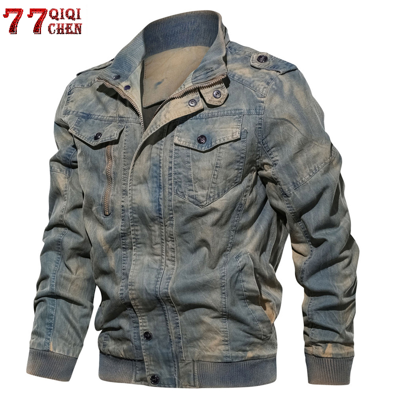 Mens Denim Jacket Big Size 6XL Military Tactical Jeans jacket Solid Casual Air Force Pilot Coat Innrech Market.com