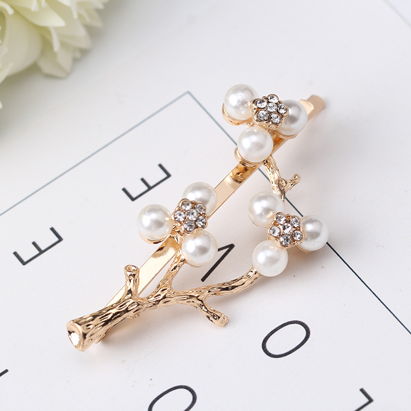 M Mism Korean Style Tree Hairpins Pearl Hair Clip For Women Girls Ornament Rhinestone Barrettes Hair Accesorios Para El Cabello Women's Hair Accessories